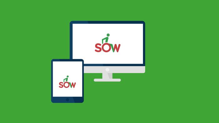 Pokaż zdjęcie: grafika z zielonym tłem przedstawiająca komputer i tablet, których ekarany pokazują logo SOW